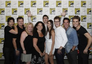 The Vampire Diaries cast with executive producer Julie Plec and TV Guide Magazine's Debra Birnbaum
