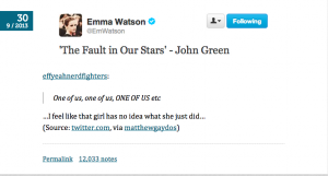 Hank Green reacts to Emma Watson reading TFiOS