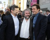 Peter Jackson shares a laugh with Andy Serkis and Orlando Bloom